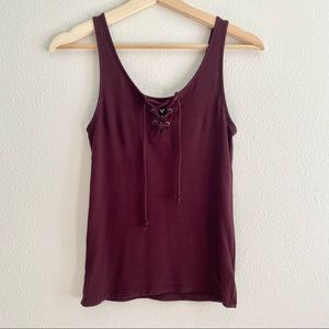 American Eagle Maroon Soft & Sexy Lace Up Tank Top